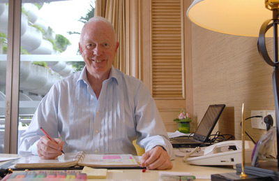 Tony Buzan at his desk